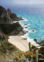 Italy, Calabria, near Tropea: coastline and beach at Capo Vaticano