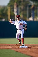 Florida Fire Frogs shortstop Alejandro Salazar (7) throws to first base during a game against the Daytona Tortugas on April 6, 2017 at Osceola County Stadium in Kissimmee, Florida.  Daytona defeated Florida 3-1.  (Mike Janes/Four Seam Images)