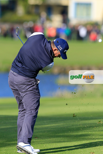 Lee Westwood (ENG) plays his 2nd shot on the 18th hole during Thursday's Round 1 of the 2016 Dubai Duty Free Irish Open hosted by Rory Foundation held at the K Club, Straffan, Co.Kildare, Ireland. 19th May 2016.<br /> Picture: Eoin Clarke | Golffile<br /> <br /> <br /> All photos usage must carry mandatory copyright credit (&copy; Golffile | Eoin Clarke)