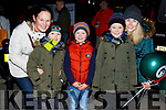 Tara and Darragh Hanlon, Oisin Priestley, Jack Hanlon, Lisa Priestly from Tralee attending the Christmas Tree lighting ceremony in Tralee on Saturday.