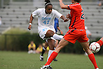 20 September 2009: North Carolina's Jessica McDonald (47) takes a shot. The University of North Carolina Tar Heels played the Auburn University Tigers to a 0-0 tie after overtime at Koskinen Stadium in Durham, North Carolina in an NCAA Division I Women's college soccer game.