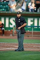 Home plate umpire Edgar Morales during the game between the Ogden Raptors and the Great Falls Voyagers at Lindquist Field on August 16, 2017 in Ogden, Utah. The Voyagers defeated the Raptors 11-6. (Stephen Smith/Four Seam Images)