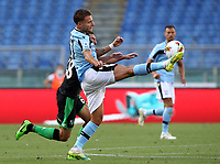 Football, Serie A: S.S. Lazio - Sassuolo, Olympic stadium, Rome, July 11, 2020. <br /> Lazio's Ciro Immobile (r) in action with  Sassuolo's Mehdi Bourabia (l) during the Italian Serie A football match between S.S. Lazio and Sassuolo at Rome's Olympic stadium, Rome, on July 11, 2020. <br /> UPDATE IMAGES PRESS/Isabella Bonotto