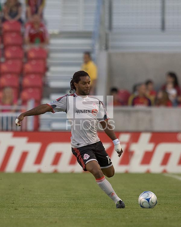 Toronto FC defender Adrian Serioux (15). Salt Lake Real defeated Toronto FC, 3-0, at Rio Tinto Stadium on June 27, 2009.