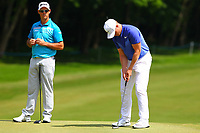 Jaco Van Zyl and Oliver Fisher on the 3rd green during the BMW PGA Golf Championship at Wentworth Golf Course, Wentworth Drive, Virginia Water, England on 25 May 2017. Photo by Steve McCarthy/PRiME Media Images.
