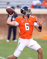 Oct 23, 2010; Charlottesville, VA, USA; Virginia Cavaliers quarterback Marc Verica (6) throws the ball before the game against the Eastern Michigan Eagles at Scott Stadium.  Mandatory Credit: Andrew Shurtleff