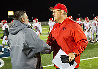 Northside vs Springdale Har-ber 7A Playoffs - Head coach Mike Falleur of Northside is congratulated by Chris Wood of Springdale Har-ber at Wildcat Stadium, Springdale, AR on Friday, November 10, 2017  Special to NWA Democrat-Gazette/ David Beach