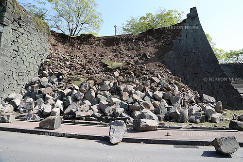 Kumamoto, Japan - April 15 : A landslide was seen at Kumamoto Castle as Kumamoto Earthquake last night happened at Kumamoto-shi, Kumamoto, Japan. The photograph was taken on April 15th, 2016. (Photo by Chiaki Kodama/AFLO)