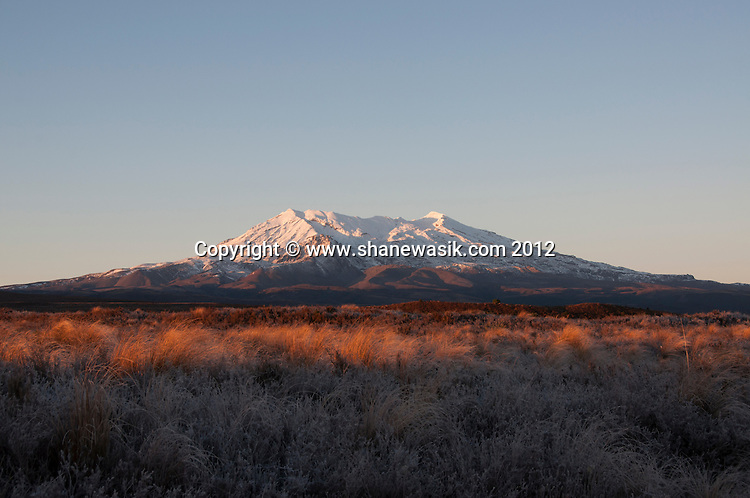 Tongariro Crossing During Winter including Mount Tongariro, Mount Ngauruhoe, Ketetahi Hut.