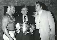 Hulk Hogan, Donald Trump, Andre the Giant 1987<br /> Photo By John Barrett-PHOTOlink.net