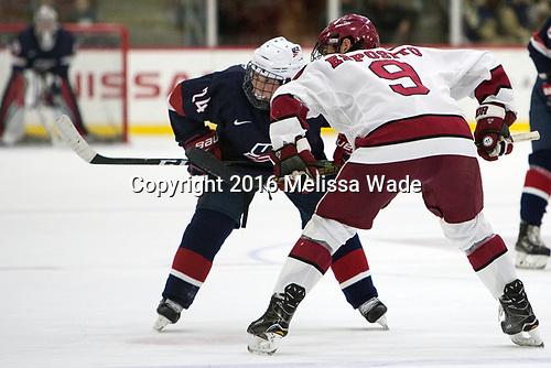 Sean Dhooghe (NTDP - 24), Luke Esposito (Harvard - 9) - The Harvard University Crimson defeated the US National Team Development Program's Under-18 team 5-2 on Saturday, October 8, 2016, at the Bright-Landry Hockey Center in Boston, Massachusetts.