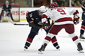 Sean Dhooghe (NTDP - 24), Luke Esposito (Harvard - 9) - The Harvard University Crimson defeated the US National Team Development Program's Under-18 team 5-2 on Saturday, October 8, 2016, at the Bright-Landry Hockey Center in Boston, Massachusetts.