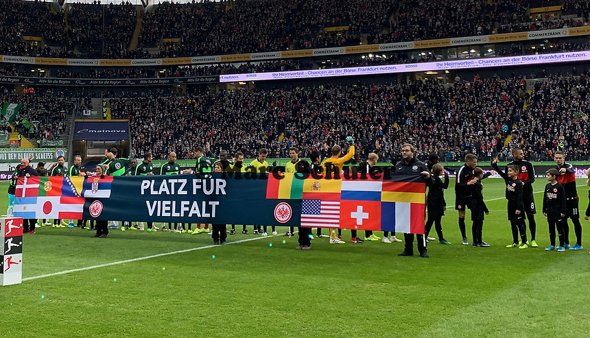 "Spieltagsmotto ""Platz für Vielfalt""- 23.11.2019: Eintracht Frankfurt vs. VfL Wolfsburg, Commerzbank Arena, 12. Spieltag<br /> DISCLAIMER: DFL regulations prohibit any use of photographs as image sequences and/or quasi-video."