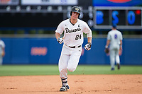 Gavin Sheets (24) of the Wake Forest Demon Deacons rounds the bases after hitting a 3-run home run in the bottom of the first inning against the Florida Gators in Game Two of the Gainesville Super Regional of the 2017 College World Series at Alfred McKethan Stadium at Perry Field on June 11, 2017 in Gainesville, Florida.  (Brian Westerholt/Four Seam Images)