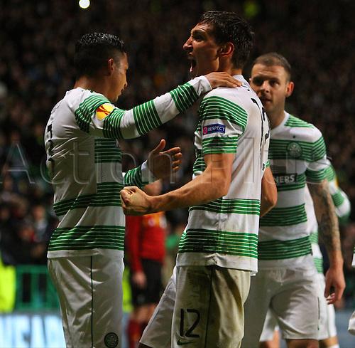 23.10.2014.  Glasgow, Scotland. UEFA Europa League. Celtic versus Astra Giurgiu. Stefan Scepovic and Emilio Izaguirre celebrate his goal