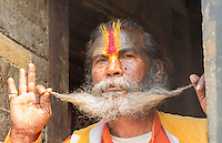 Kathmandu Nepal Sadus painted men pose for cportrait in Pashupatinath.Buddhist, Buddhism  95