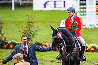 USA-Elisabeth Halliday-Sharp rides Cooley Moonshine during the Prizegiving for the CCI3*-L7YO. Final-2nd. 2019 FRA-Mondial du Lion - FEI World Breeding Championships. Le Lion d'Angers. France. Sunday 20 October. Copyright Photo: Libby Law Photography