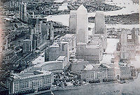 "London: Docklands, Canary Wharf as now envisaged from the West--a ""Mini-Manhattan"". ARCH. REV. NOV. '88.  Reference only."