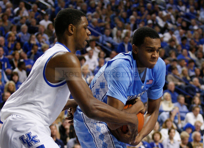 John Henson gets the rebound in the game between the University of Kentucky and the University of North Carolina at Rupp Arena in Lexington, Ky., on Saturday, Dec. 3, 2011. Kentucky won 73-72. Photo by Latara Appleby | Staff ..