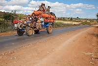 Myanmar, Burma.  Local Tractor Transport, Shan State.