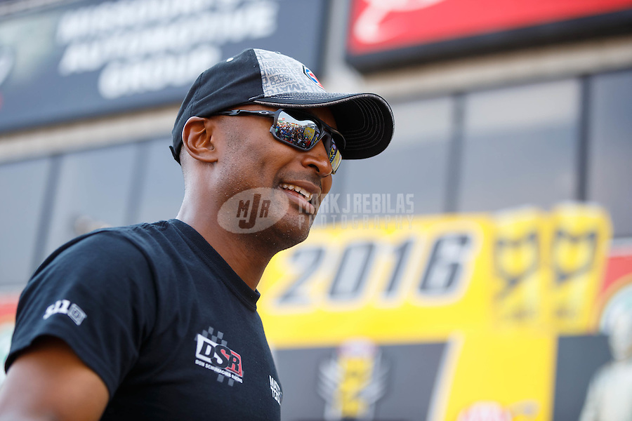 Sep 25, 2016; Madison, IL, USA; NHRA top fuel driver Antron Brown during the Midwest Nationals at Gateway Motorsports Park. Mandatory Credit: Mark J. Rebilas-USA TODAY Sports