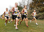 BROOKINGS, SD - OCTOBER 31:  From Left, Griffin Miller, Conner Sorrells, Dakota Dubbs, Peyton Reed, and Damon Pruett from IUPUI run in a group during the 2015 Summit League Cross Country Championships at Edgebrook Golf Course in Brookings. (Photo by Dave Eggen/Inertia)