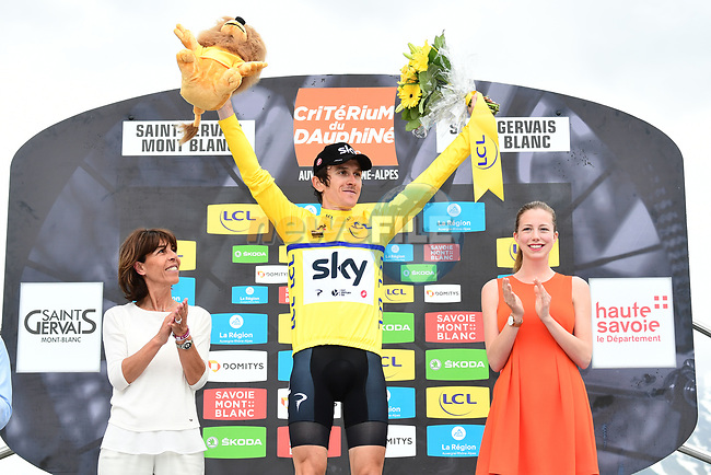 Geraint Thomas (WAL) Team Sky wins the 2018 Criterium du Dauphine 2018 at the end of Stage 7 running 136km from Moutiers to Saint Gervais Mont Blanc, France. 10th June 2018.<br /> Picture: ASO/Alex Broadway | Cyclefile<br /> <br /> <br /> All photos usage must carry mandatory copyright credit (© Cyclefile | ASO/Alex Broadway)