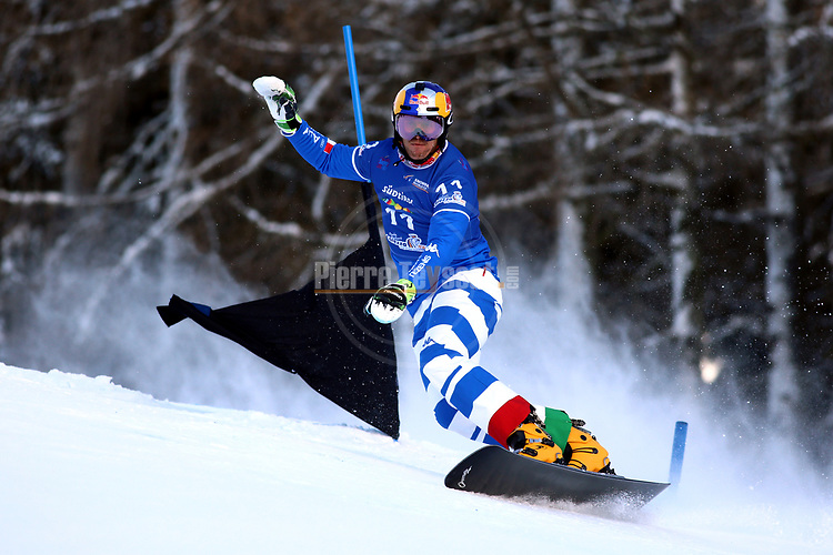 Snowboard World Cup 2018 FIS in Carezza, on December 14, 2017; Parallel Giant Slalom; Roland Fischnaller (ITA)<br /> &copy; Pierre Teyssot / Pentaphoto