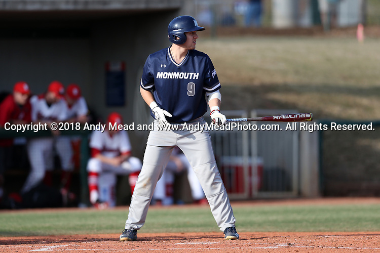 CARY, NC - FEBRUARY 23: Monmouth's Johnny Zega. The Monmouth University Hawks played the Saint John's University Red Storm on February 23, 2018 on Field 2 at the USA Baseball National Training Complex in Cary, NC in a Division I College Baseball game. St John's won the game 3-0.