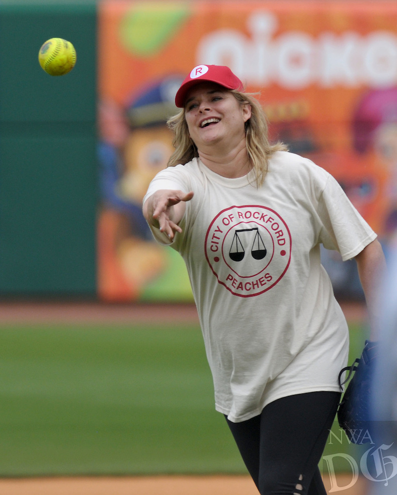 NWA Democrat-Gazette/BEN GOFF @NWABENGOFF<br /> Freddie Simpson, who played Ellen Sue Gotlander, plays for the red team on Sunday May 8, 2016 during the 2nd annual Bentonville Film Festival 'A League of Their Own' reunion softball game at Arvest Ballpark in Springdale.