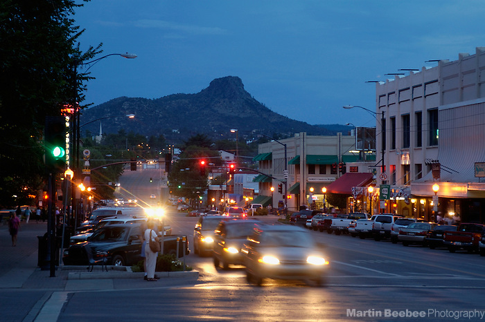 Thumb Butte rising above downtown Prescott, Arizona