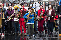 The Boston Area Brigade of Activist Musicians (BABAM Band) performs on stage in Boston Common as part of the March for Science demonstration on Sat., April 22, 2017.