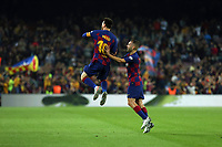 29th October 2019; Camp Nou, Barcelona, Catalonia, Spain; La Liga Football, Barcelona versus Real Valladolid; Leo Messi celebration after scoring his goal for 3-1 in the 34th minute