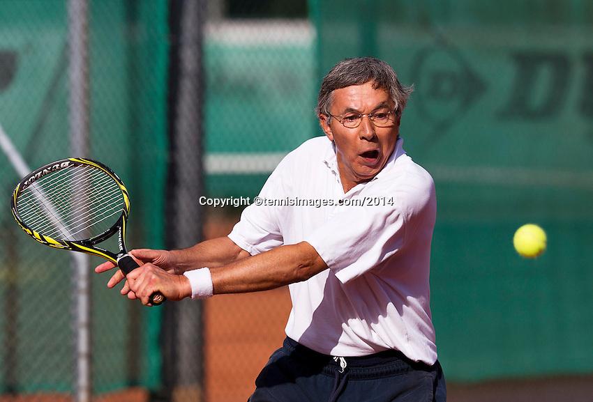August 24, 2014, Netherlands, Amstelveen, De Kegel, National Veterans Championships, Rolf Thung (NED)<br /> Photo: Tennisimages/Henk Koster