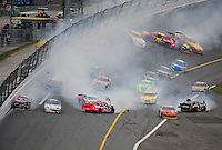 Feb 9, 2008; Daytona, FL, USA; Multiple drivers crash in turn four during the ARCA RE/MAX series ARCA 200 at Daytona International Speedway. Mandatory Credit: Mark J. Rebilas-US PRESSWIRE