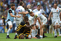 Sam Simmonds of Exeter Chiefs shakes hands with Simon McIntyre of Wasps after the match. Aviva Premiership Final, between Wasps and Exeter Chiefs on May 27, 2017 at Twickenham Stadium in London, England. Photo by: Patrick Khachfe / JMP