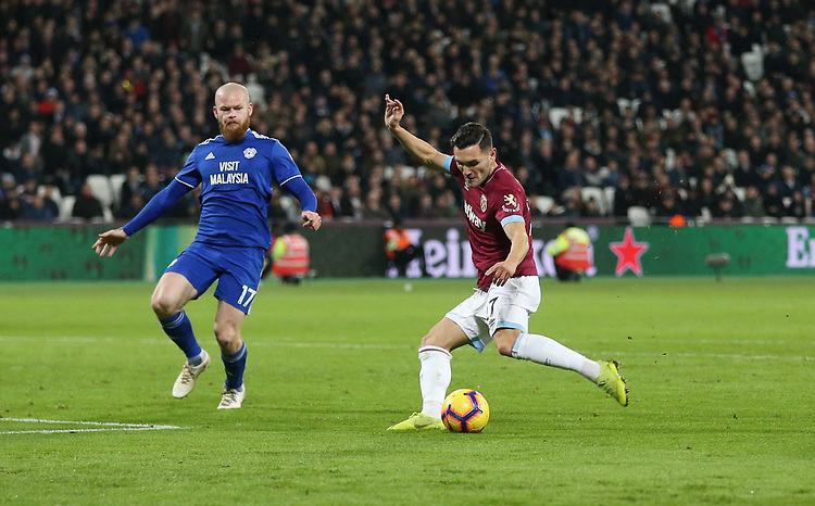 West Ham United's Lucas scores his side's second goal <br /> <br /> Photographer Rob Newell/CameraSport<br /> <br /> The Premier League - West Ham United v Cardiff City - Tuesday 4th December 2018 - London Stadium - London<br /> <br /> World Copyright © 2018 CameraSport. All rights reserved. 43 Linden Ave. Countesthorpe. Leicester. England. LE8 5PG - Tel: +44 (0) 116 277 4147 - admin@camerasport.com - www.camerasport.com