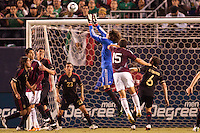 Guillermo 'Memo' Ochoa (1) goalkeeper of Mexico goes high for a save. The national teams of Mexico and Venezuela played to a 1-1 draw in an International friendly match at  Qualcomm stadium in San Diego, California on  March 29, 2011...