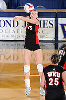 22 November 2008:  Western Kentucky University outside hitter Aquila Orr (15) returns the ball during the WKU 3-0 victory over New Orleans in the championship game of the Sun Belt Conference tournament at U.S. Century Bank Arena in Miami, Florida.