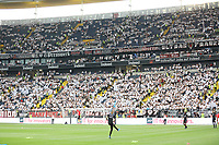 Eintracht Fans in weiss - 01.08.2019: Eintracht Frankfurt vs. FC Flora Tallinn, UEFA Europa League, Qualifikation 2. Runde, Commerzbank Arena<br /> DISCLAIMER: DFL regulations prohibit any use of photographs as image sequences and/or quasi-video.