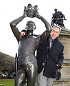 Charles Nicholl,author of a book on William Shakespeare at the Statue of Shakespeare in Stratford Upon Avon 8/11/07 CREDIT Geraint Lewis