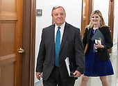 United States Senator Dick Durbin (Republican of Illinois) arrives to hear the testimony of Dr. Christine Blasey Ford  before the US Senate Committee on the Judiciary on the nomination of Judge Brett Kavanaugh to be Associate Justice of the US Supreme Court to replace the retiring Justice Anthony Kennedy on Capitol Hill in Washington, DC on Thursday, September 27, 2018.<br /> Credit: Ron Sachs / CNP<br /> (RESTRICTION: NO New York or New Jersey Newspapers or newspapers within a 75 mile radius of New York City)