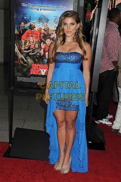 """Marisa Saks.Attending the """"Scary Movie 5"""" Los Angeles film premiere held at the Cinerama Dome,  Hollywood, California, USA, .11th April 2013..full length  blue strapless dress sparkly long train gold open toe shoes .CAP/ADM/BP.©Byron Purvis/AdMedia/Capital Pictures"""