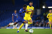 Tariq Lamptey of Chelsea races upfield as AFC Wimbledon's Jake Jervis looks on during Chelsea Under-21 vs AFC Wimbledon, Checkatrade Trophy Football at Stamford Bridge on 4th December 2018