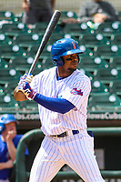 Iowa Cubs outfielder Wynton Bernard (2) at bat during a Pacific Coast League game against the San Antonio Missions on May 2, 2019 at Principal Park in Des Moines, Iowa. Iowa defeated San Antonio 8-6. (Brad Krause/Four Seam Images)