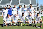 08 March 2015: Carolina RailHawks starters. Front row (from left): Kupono Low, Ty Shipalane (RSA), Austin Da Luz, Neil Hlavaty, Nazmi Albadawi. Back row (from left): Nacho Novo (ESP), Hunter Gilstrap, Austen King, Connor Tobin, Daniel Scott, Leo Osaki (JPN). The Carolina RailHawks of the North American Soccer League played Seoul E-Land FC of the K-League Challenge at WakeMed Stadium in Cary, North Carolina in a 2015 preseason friendly for both clubs. The game ended in a 0-0 tie. Afterwards, Seoul E-Land won a penalty kick shootout 5-4.
