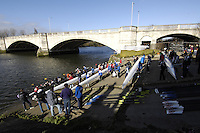 Chiswick, GREAT BRITAIN,  crews waiting to boat, [River Thames].,Tideway Scullers Club, Women's Head of the River race  01/03/2008  2008. [Mandatory Credit, Peter Spurrier/Intersport-images] Rowing Course: River Thames, Championship course, Putney to Mortlake 4.25 Miles, , Equipment