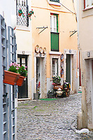 Street view. Alfama district. Lisbon, Portugal