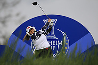 Lizette Salas of Team USA on the 8th tee during Day 2 Foursomes at the Solheim Cup 2019, Gleneagles Golf CLub, Auchterarder, Perthshire, Scotland. 14/09/2019.<br /> Picture Thos Caffrey / Golffile.ie<br /> <br /> All photo usage must carry mandatory copyright credit (© Golffile | Thos Caffrey)