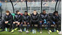 20191211- Ostend: Club Brugge reserve players (left to right) Arne Engels, Thomas Van Den Keybus, Eric Appiah Ansu, Wout Debuyser, Nathan Fuakala and Samuel Asoma are pictured at the dug out at the start of the UEFA Youth League Group A football match between Club Brugge and Real Madrid on Wednesday 11th December 2019 at Versluys Arena, Ostend, Belgium. PHOTO: SEVIL OKTEM | Sportpix.be